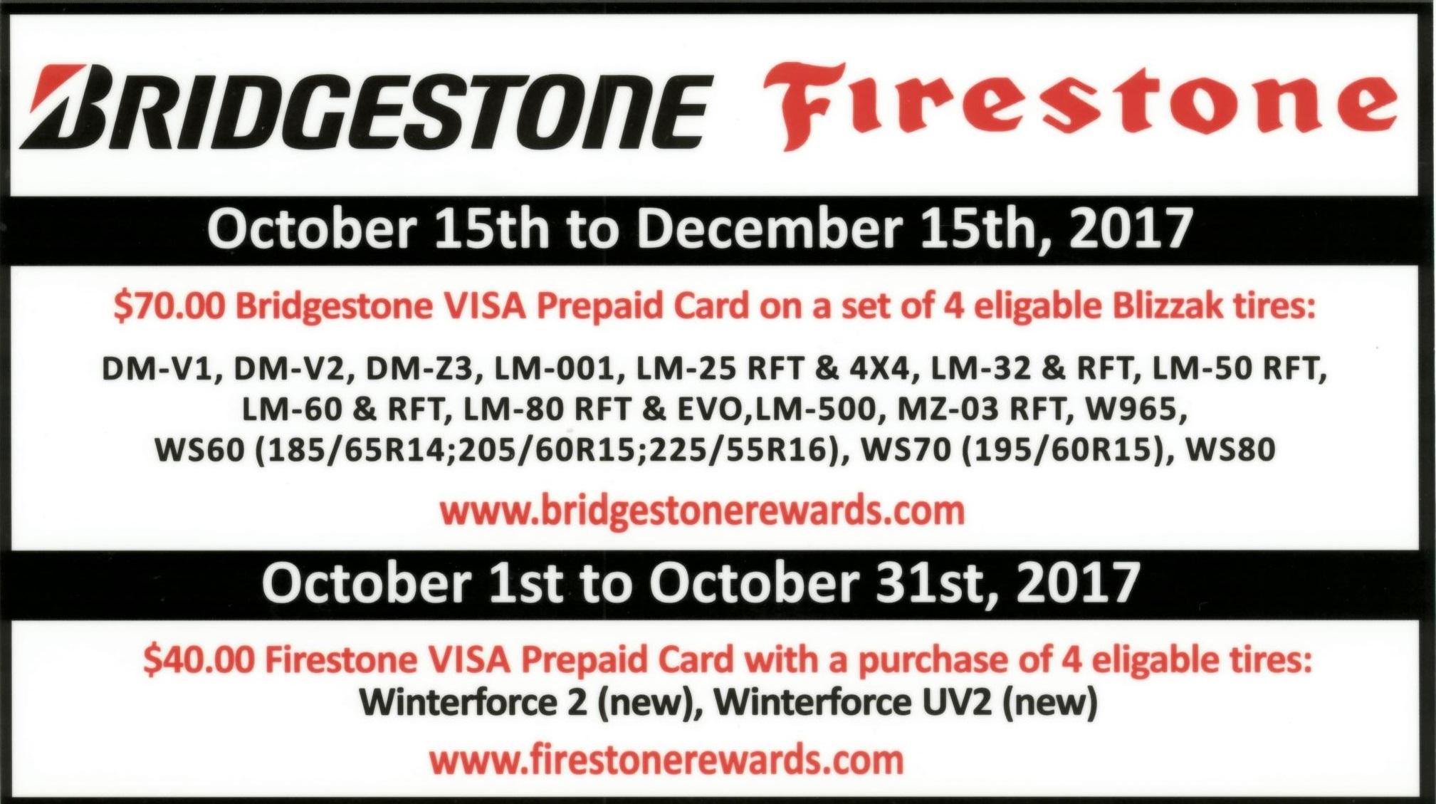 2017 Bridgestone Firestone Ken Shaw Lexus Toyota Tire Rebates