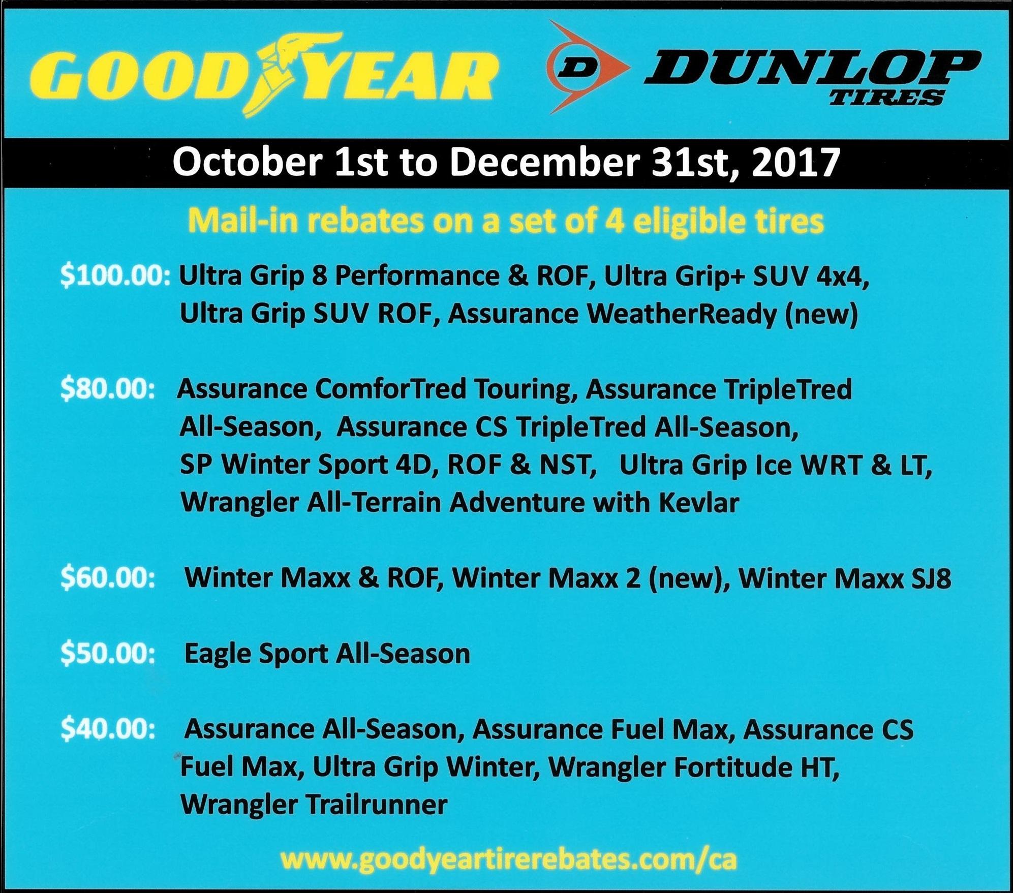 2017 Winter Goodyear Dunlop Ken Shaw Lexus Toyota Tire Rebates