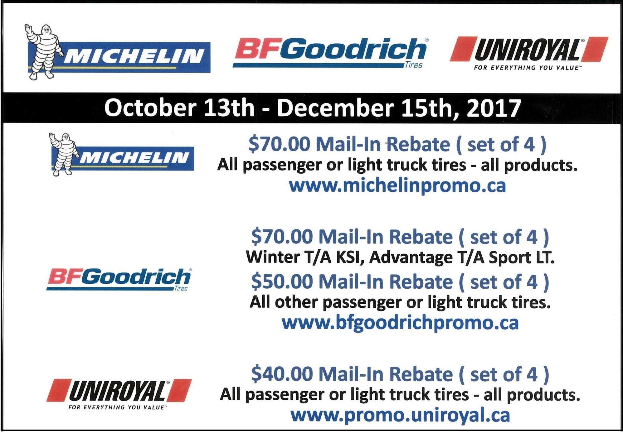 2017 Winter Michelin BF Goodrich Uniroyal Ken Shaw Lexus Toyota Tire Rebates